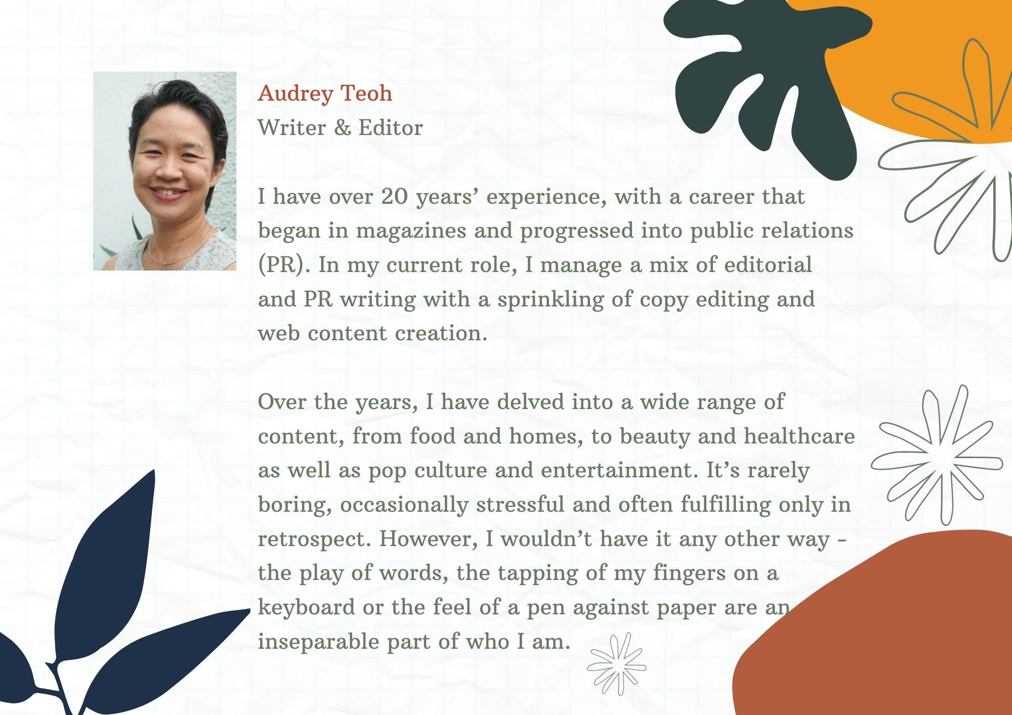 audrey teoh PR writing copy editing