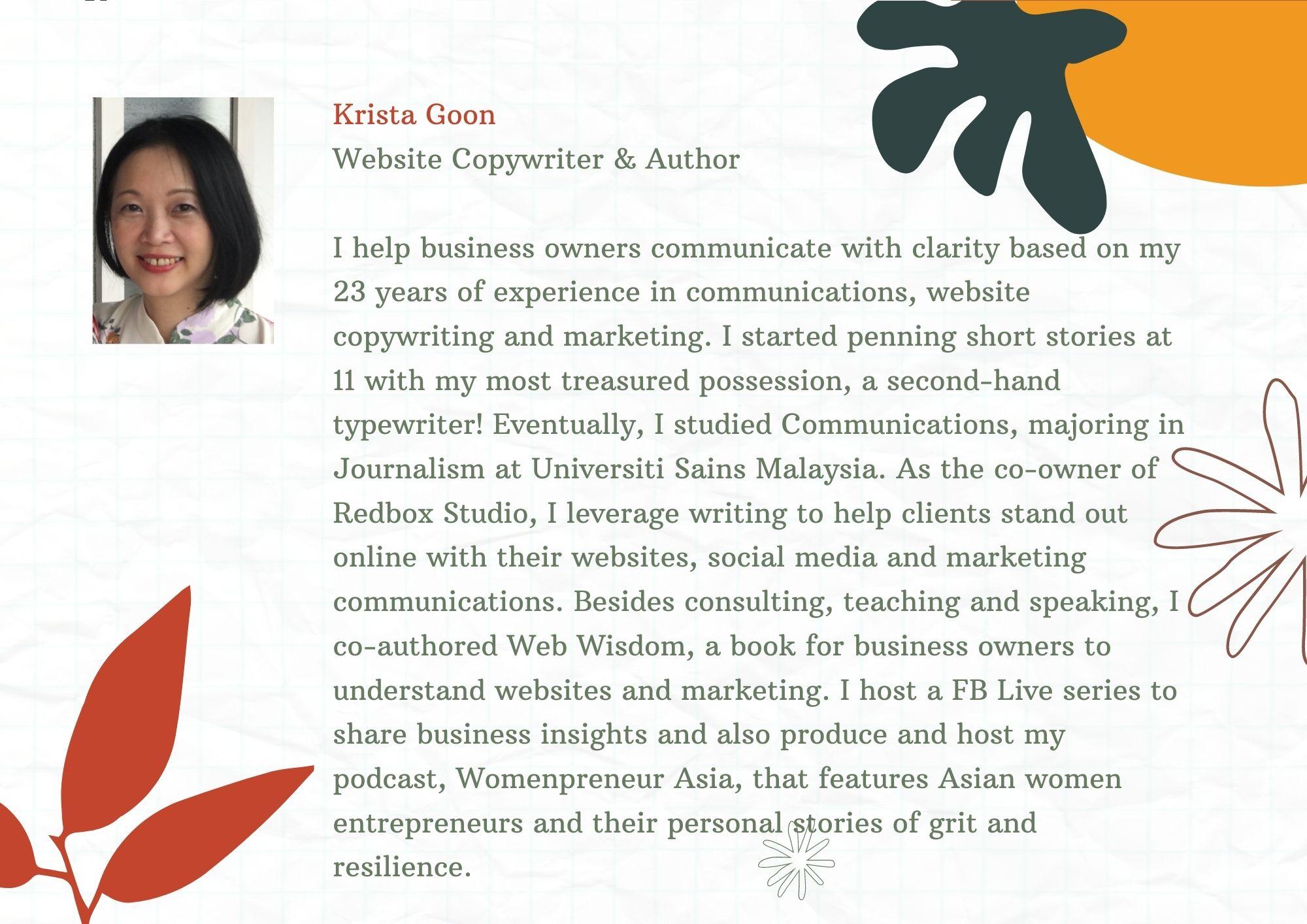 krista goon website copywriter website consultant author
