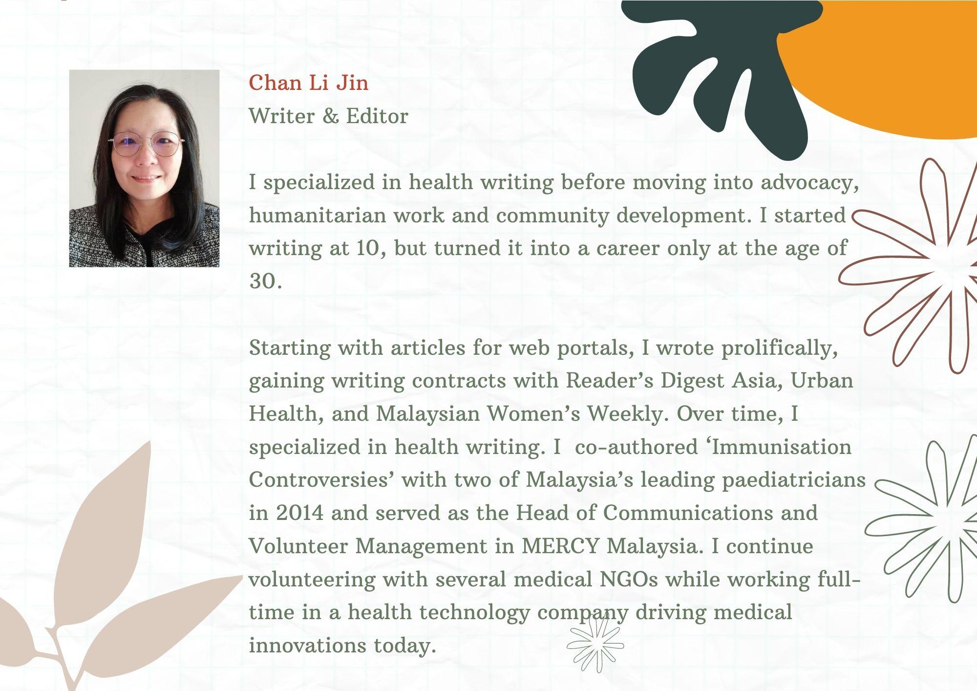 chan li jin health writer immunisation controversy