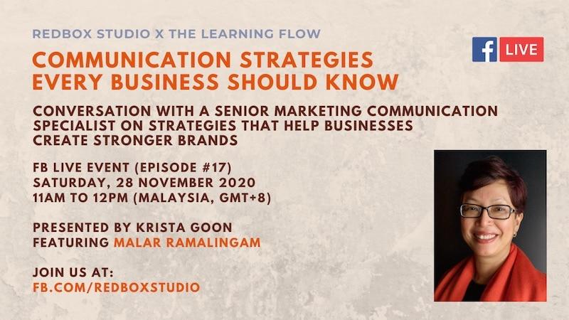 communication strategy for businesses - malar ramalingam fb live redboxstudio